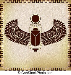 egyptisch, symbool, scarab, sun., heilig, insect