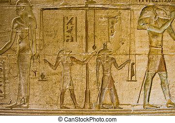 egyptisch, weging, oud, hart
