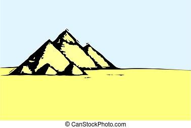 egyptisch, woestijn, piramides