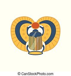 egyptisch, zon, symbool, illustratie, scarab, insect, vector, heilig, spotprent