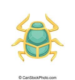 egyptisch, zon, symbool, illustratie, scarab, vector, heilig, kever, insect
