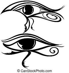 egyptisk, ögon, ra, silhuett