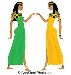 egyptisk, forntida, dansande, kvinnor