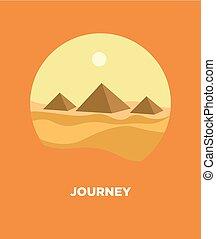 egyptisk, resa, vektor, landskap, pyramider, öken, resa, ikon