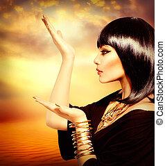 egyptisk, stil, kvinna