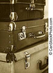 egyszínű, mód, öreg, szüret, utazás, bőrönd, retro, fénykép