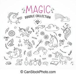 egyszarvú, doodles, kéz, varázslatos, tündér, húzott