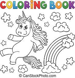egyszarvú, könyv, topic, színezés, csinos, 2