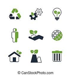egyszerű, ökológia, állhatatos, vektor, ikon