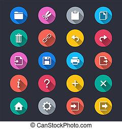 egyszerű, alkalmazás, toolbar, szín, ikonok