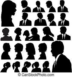 egyszerű, arcképek, árnykép, emberek