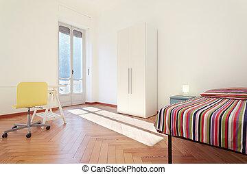 egyszerű, belső, egyedülálló, hálószoba, tervezés