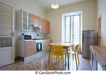 egyszerű, belső, konyha