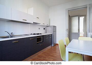 egyszerű, belső, modern, tervezés, konyha
