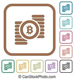 egyszerű, bitcoins, ikonok