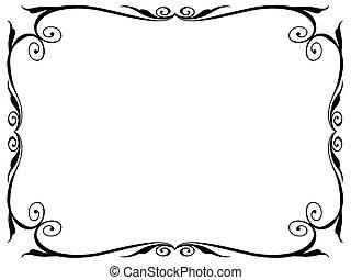 egyszerű, díszítő, dekoratív, keret