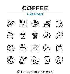 egyszerű, egyenes, grafikus, alapismeretek, fogalom, modern, áttekintés, ikonok, tervezés, collection., vektor, set., jelkép, kávécserje