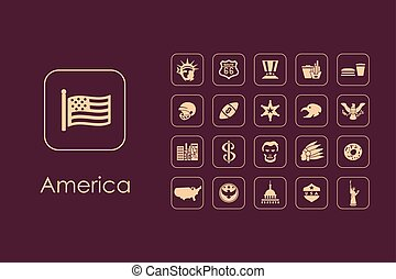 egyszerű, egyesült államok, állhatatos, egyesült, ikonok