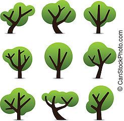 egyszerű, fa, ikonok