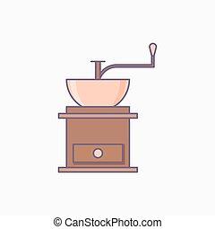 egyszerű, kávécserje grinder, elszigetelt, ikon