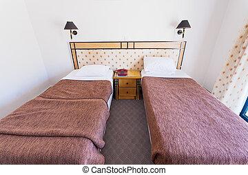 egyszerű, olcsó, két, ágy, szoba