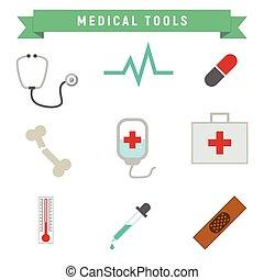 egyszerű, orvosi szerszám, csomag