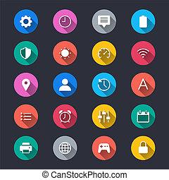 egyszerű, szín, beállítás, ikonok
