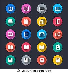 egyszerű, szín, könyv, ikonok