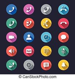 egyszerű, szín, telefon, ikonok