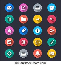 egyszerű, szín, zománc, ikonok