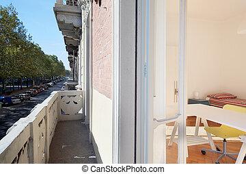 egyszerű, tervezés, belső, erkély, hálószoba