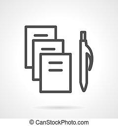 egyszerű, vektor, fekete, irodaszer, egyenes, ikon