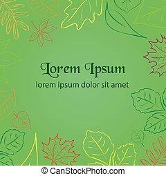 egyszerű, zöld, ősz lap, szín, határ, helyett, -e, szöveg, eps10