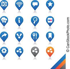 egyszerűség, ikonok, sorozat, társadalmi, -, vektor, média