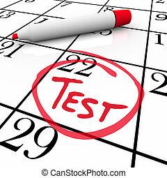 egzamin, nerwowy, -, okrążony, próba, kalendarz, dzień