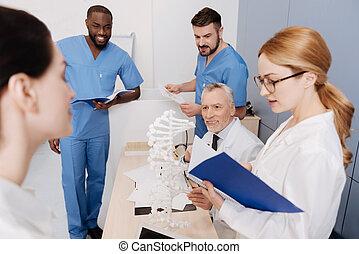 egzamin, studenci, medyczny, chwilowy, uniwersytet, mądry