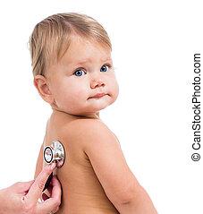 egzaminując, mały, doktor, odizolowany, stetoskop, pediatryczny, dziewczyna niemowlęcia, biały