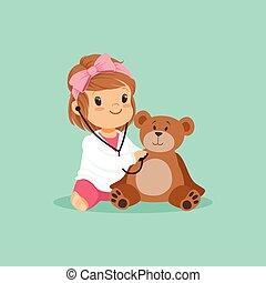 egzaminując, zabawka, suknia, jej, teddy, doktor, medyczny, litera, niedźwiedź, plusz, dziewczyna, płaski, niemowlę, projektować, biały, berbeć, interpretacja, rysunek, stethoscope.