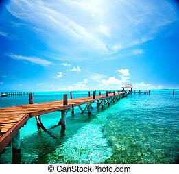 egzotikus, caribbean, island., utazás, idegenforgalom, vagy, megüresedések, concept., tropical tengerpart, erőforrás