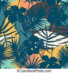 egzotikus, detektívek, motívum, seamless, tropikus, háttér., művészi