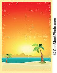 egzotikus, levelezőlap, tengerpart, grunge