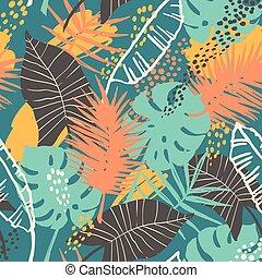 egzotikus, motívum, plants., seamless, tropikus