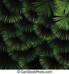 egzotikus, motívum, zöld, tropikus