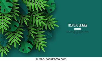 egzotikus, nyár, tervezés, illustration., szín, leaves., tropikus, háttér, vektor, zöld, dzsungel, virágos, pálma