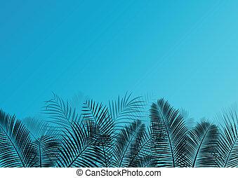 egzotikus, részletes, árnykép, őt lap, poszter, ábra, vektor, dzsungel, háttér, detektívek, fű, táj, erdő