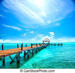 egzotikus, tropikus, resort., móló, közel, cancun, mexico., utazás, idegenforgalom, és, megüresedések, fogalom