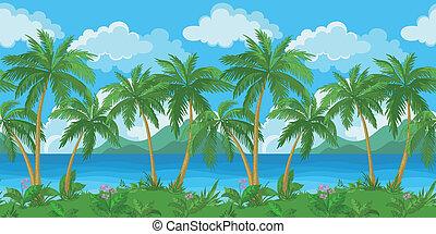 egzotikus, tropikus, tenger, seamless, táj