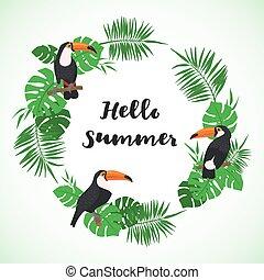 egzotyczny, bird., ułożyć, tropikalny, tukan, liście