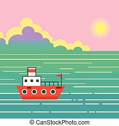 egzotyczny, chmury, niebo, wyspa, statek, ocean, krajobraz, słońce, water., łódka