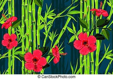 egzotyczny, ciemny, kwiat modelują, seamless, ręka, tropikalny, dłoń, dżungla, tło, pociągnięty, liście